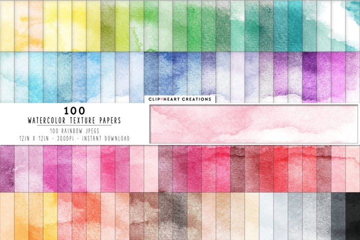 100 Watercolor Digital Papers in Rainbow Colors