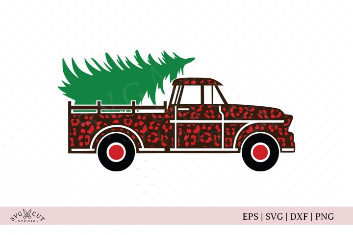 Christmas Truck   Vintage Truck  Cheetah Truck SVG cut file