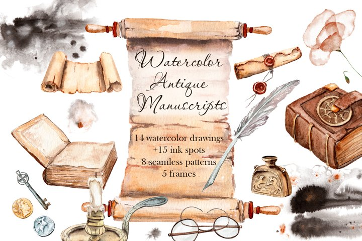 Watercolor ancient manuscript