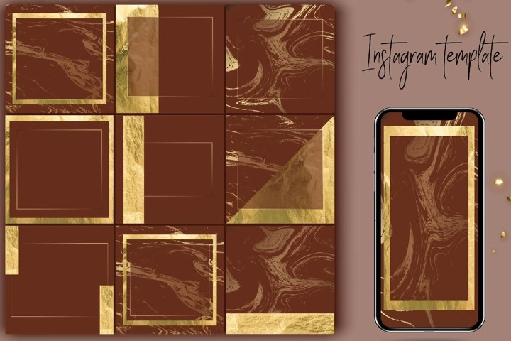 Instagram template brown and gold.Instagram Posts and Story
