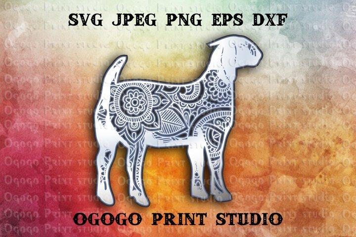 3D Layered Boer Goat Mandala Svg, Zentangle SVG, Animal Svg