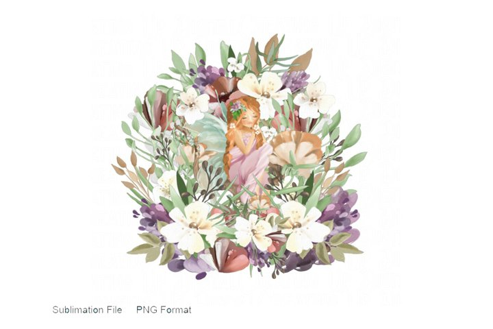 Watercolor Fairy and Flowers PNG