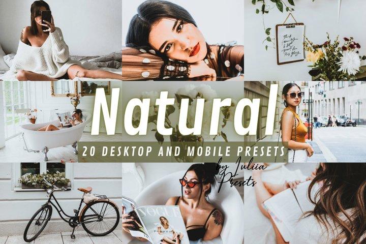 20 NATURAL Lightroom Presets for Mobile & Desktop apps
