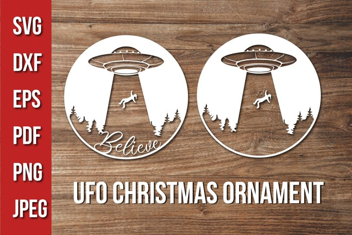 Ufo Christmas Svg - Fun Christmas Ornament Cut File -Believe