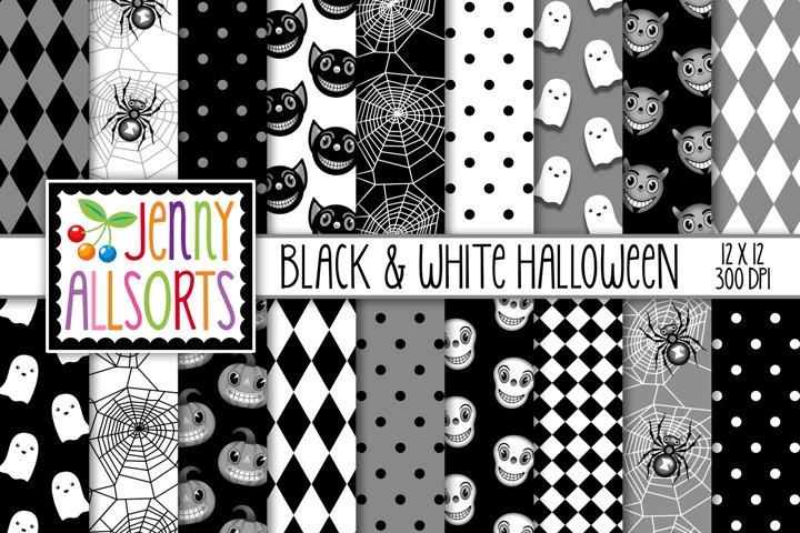 Black & White Halloween Digital Papers