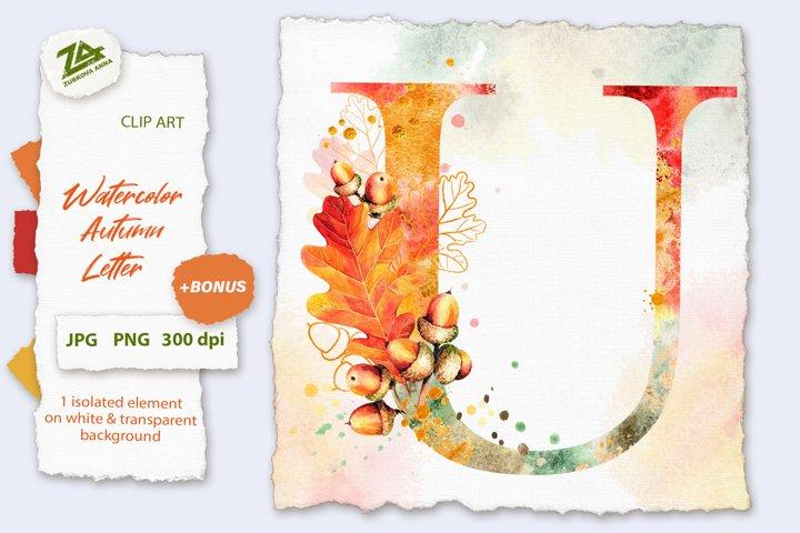 Fall Watercolor Letter, Monogram U clipart JPG PNG