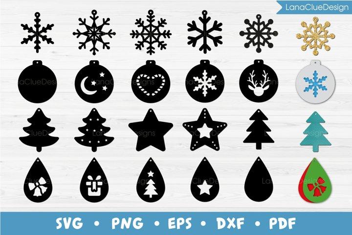 Christmas Earrings Bundle SVG - Christmas Jewelry Template