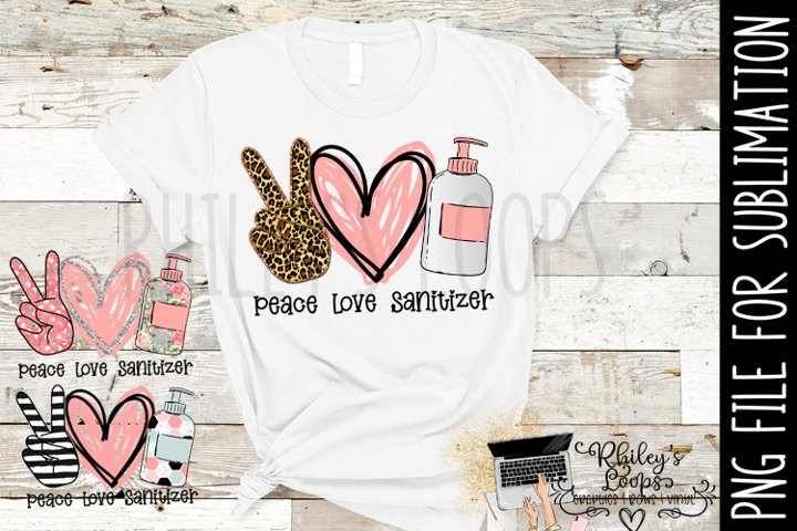 Peace Love Sanitizer PNG File For Sublimation
