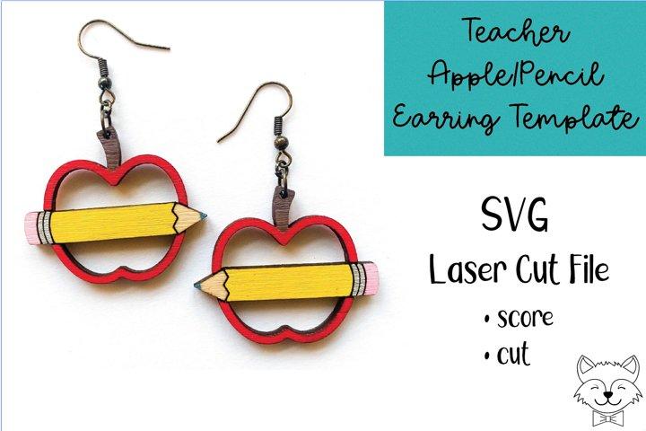 Teacher Apple Pencil Earring File SVG