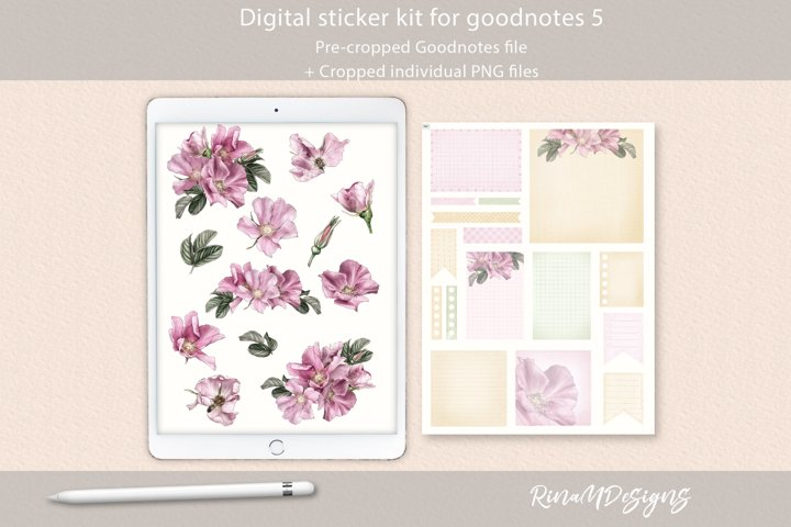 Digital planner stickers for Goodnotes. Pink wild roses.