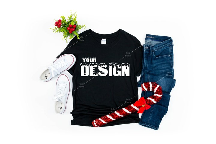 Gildan 64000 Softstyle Black T-shirt Mockup Christmas Winter