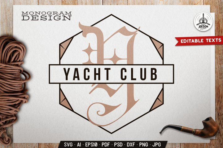 Yacht Club Monogram SVG Design With Geometric Shape DXF PNG