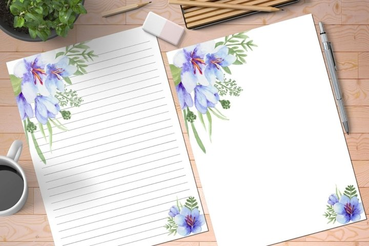 Purple Floral Printable Stationery Set, Letter Paper