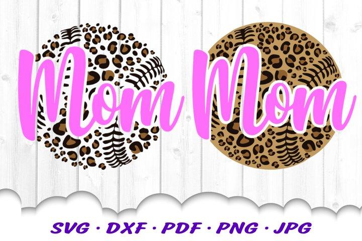 Leopard Print Baseball Mom SVG DXF Cut Files