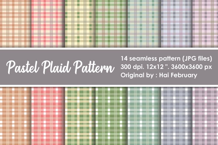 Pastel Plaid Pattern Seamless Digital Paper