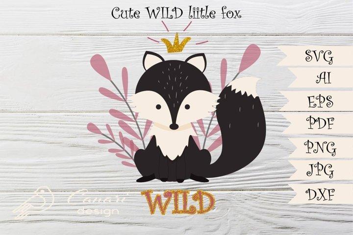 Cute wild little fox print