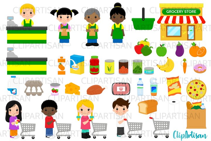 Grocery Store Clip Art, Groceries, Shopping, Shopping Cart