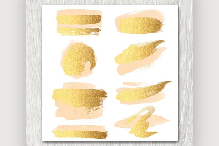 Gold and Peach Brush Strokes Clipart