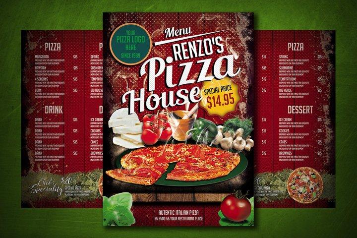 PIZZA MENU TEMPLATE   digital template for restaurant