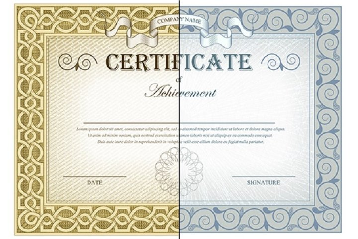 Vintage Certificates and elements