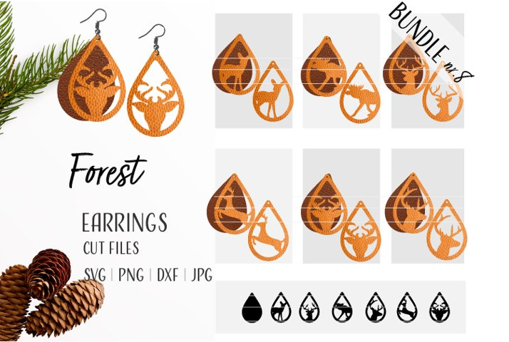 Deer Earrings Bundle Svg / Leather / Faux / Wood