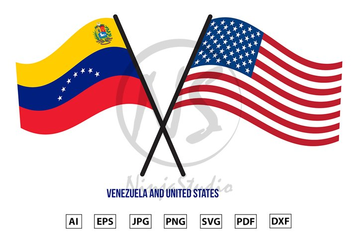 Venezuela and United States Flags Crossed And Waving