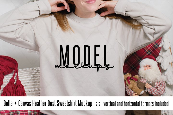 3901 Bella Canvas Heather Dust Christmas sweatshirt mockup