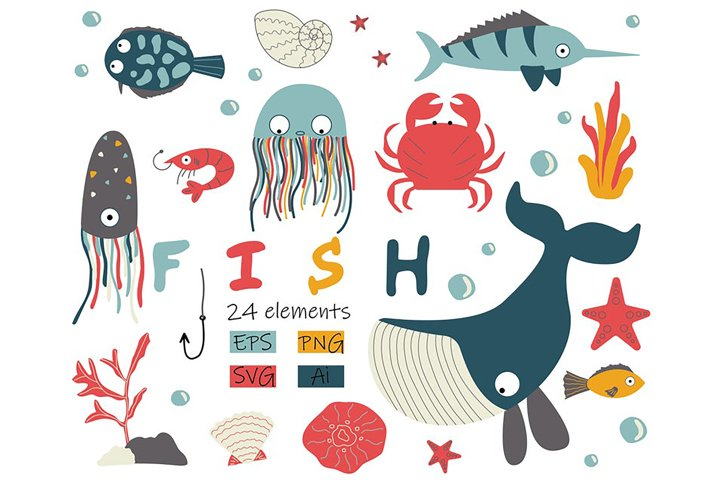 Fish Clipart with Whale, Crab, Starfish Graphic