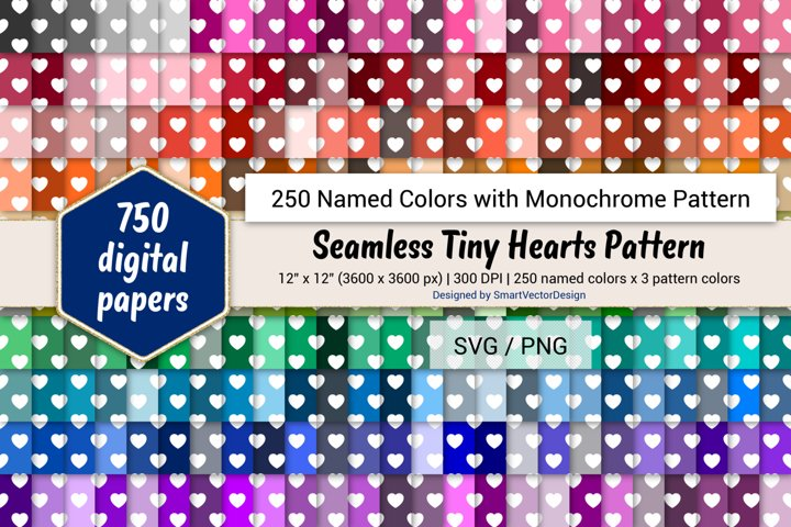 Seamless Tiny Hearts Digital Paper - 250 Colors with Pattern