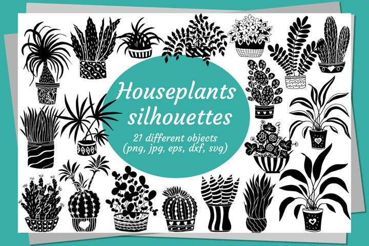 Bundle with vector silhouettes of home plants