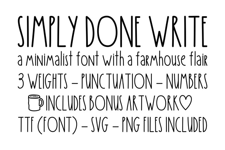 Simply Done Write Farmhouse 3 Weights Font Family & Dingbats