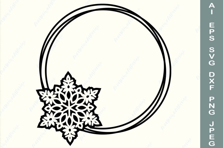 Snowflake wreath svg, Christmas circle frame svg, Monogram