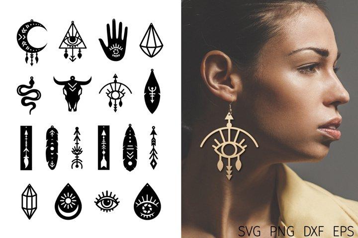 Earrings Bundle svg. Boho Earrings faux leather. Cut Files.