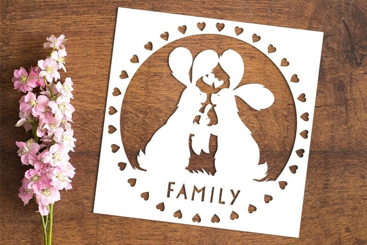 Family Bunnies - PDF Template for Paper Cutting by hand