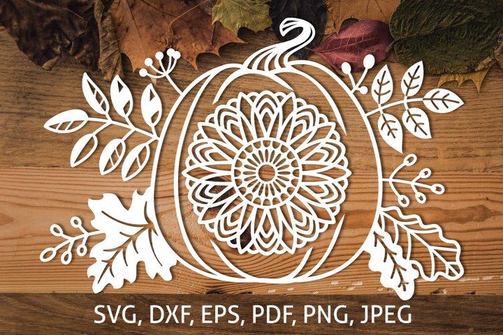 Pumpkin, Sunflower & Autumn Leaves SVG Fall Harvest Cut file