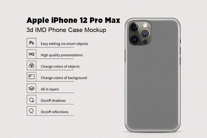 Apple iPhone 12 Pro Max 3d Phone Case Mockup Back View