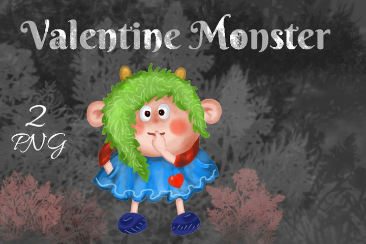 Valentines Monster in Love Sticker, PNG