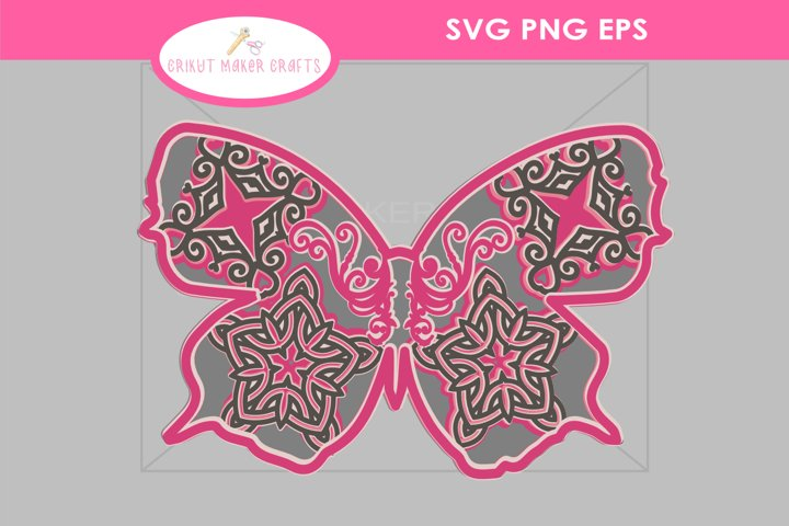 Butterfly 3D Mandala SVG, 3D Layered Mandala SVG