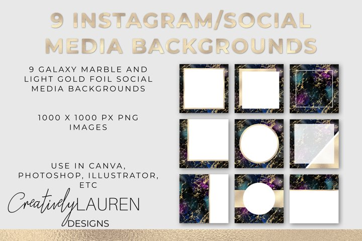 Galaxy Marble and Light Gold Foil Instagram Templates