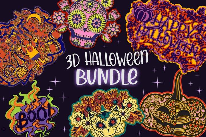 3D Halloween Bundle - 8 layered SVG items
