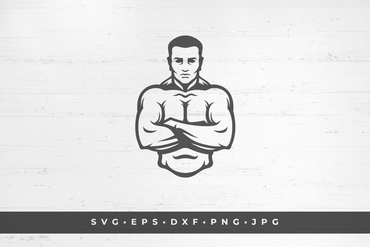 Bodybuilder icon silhouette isolated on white background