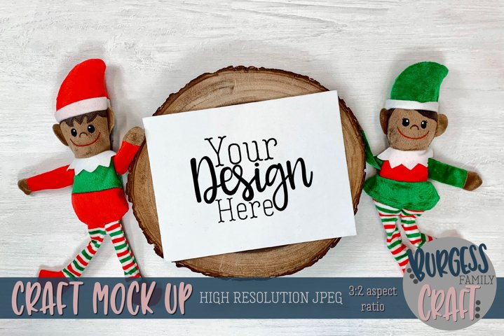 Christmas elf with horizontal certificate V |Craft mock up