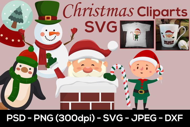 Christmas SVG Cliparts, Christmas Sublimation Designs