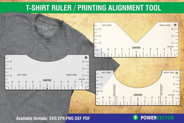 T-Shirt Alignment Tool, Glowforge SVG File, Printable Ruler