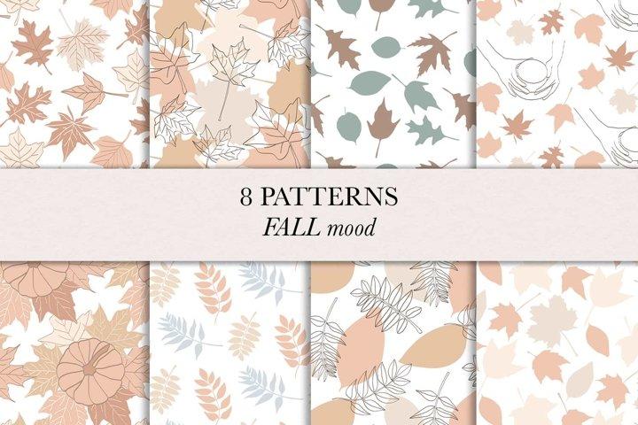 Fall / Autumn / Leaves / Pumpkins / Seamless pattern /Vector