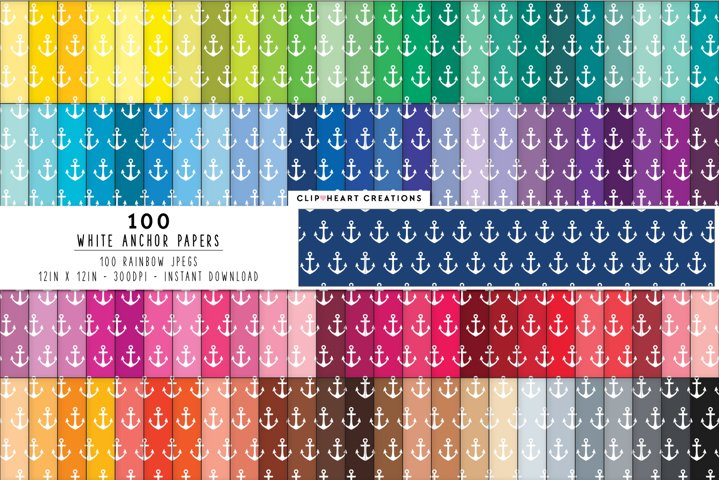 100 White Anchor Digital Papers - rainbow colors 12 x 12in