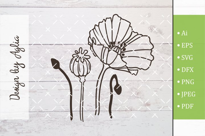 SVG flower poppy, Cut file, Line art illustration
