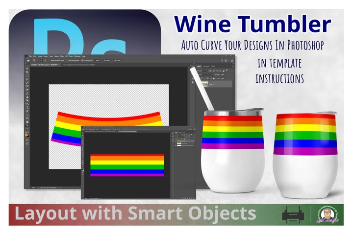 Photoshop Smart Objects Wine Tumbler Design &Warp Template