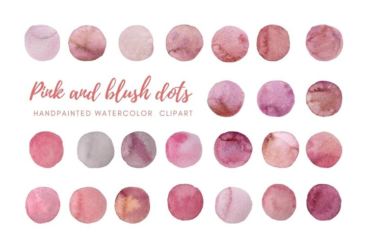 Watercolor pink and blush dots clipart. Hand painted Spots