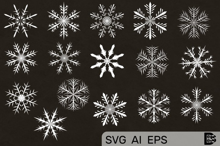 Snowflake clipart Pack. Vector illustrations. Svg Files.
